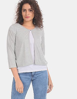 SUGR Women Grey Heathered Lace Accent Shrug