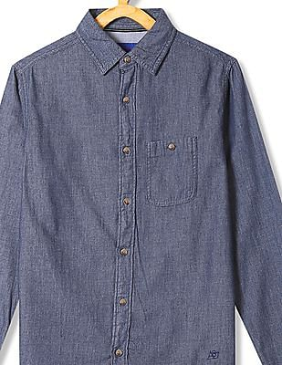 Aeropostale Spread Collar Chambray Shirt
