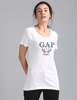 GAP Women White Short Sleeve Crew Tee