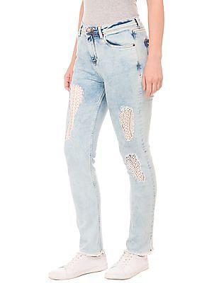 EdHardy Women High Rise Crochet Panel Jeans
