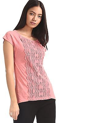Cherokee Pink Round Neck Lace Front Top