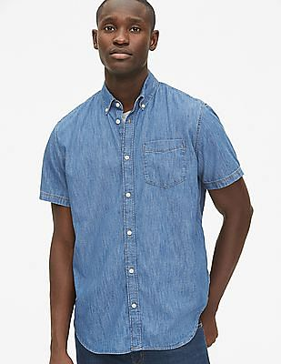 GAP Men Blue Wearlight Denim Short Sleeve Shirt