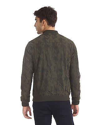 Flying Machine Green Camo Print Bomber Jacket