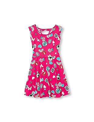 The Children's Place Girls Sleeveless Patch Print Cutout Back Knit Dress