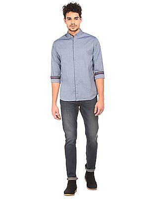 Flying Machine Mandarin Collar Concealed Placket Shirt
