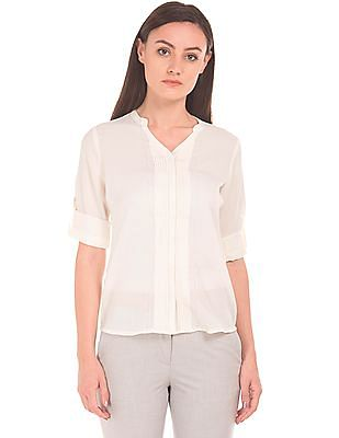 Arrow Woman Tucked Front Notch Neck Shirt