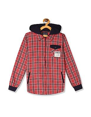 Cherokee Red Boys Zip Up Front Hooded Shirt