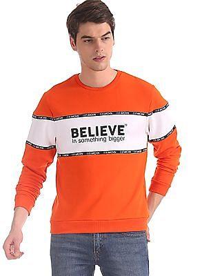 Flying Machine Orange Printed Taping Colour Block Sweatshirt