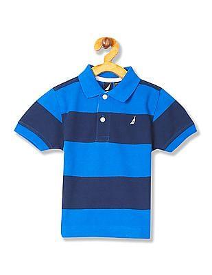 Nautica Kids Boys Short Sleeve Stripe Pique Polo Shirt