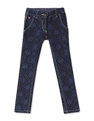 U.S. Polo Assn. Kids Girls Mid Rise Printed Jeans