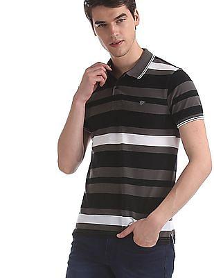 Ruggers Black Slim Fit Striped Polo Shirt