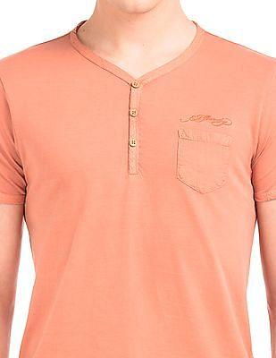 Ed Hardy Regular Fit Cotton Henley T-Shirt