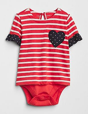 GAP Baby Print Heart Body Double Romper