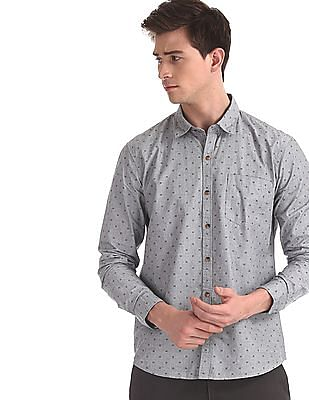 Ruggers Grey Mitered Cuff Printed Shirt