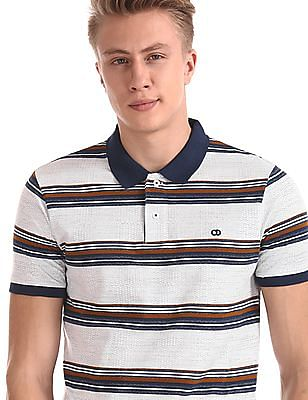Roots by Ruggers White Short Sleeve Striped Polo Shirt