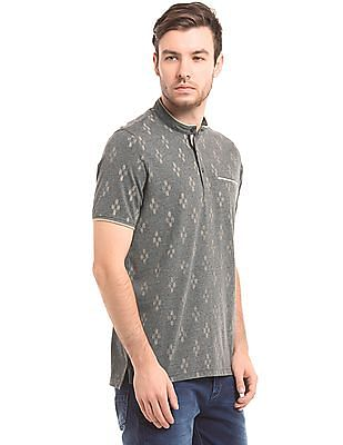 True Blue Ikat Print Mandarin Collar Polo Shirt