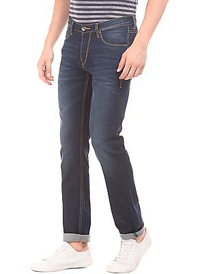 Flying Machine Crinkled Low Rise Jeans