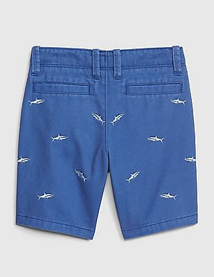 GAP Baby Embroidered Shark Khaki Shorts
