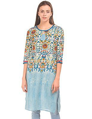 Karigari Combination Print Round Neck Kurta