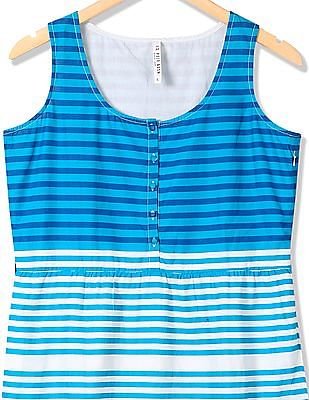 U.S. Polo Assn. Women Sleeveless Striped Fit And Flare Dress