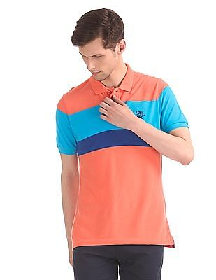 U.S. Polo Assn. Coral And Blue Stripe Chest Pique Polo Shirt