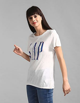 GAP Women White Allover Glitter Print Logo T-Shirt