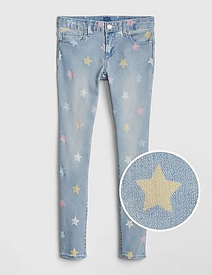 GAP Girls Superdenim Star Print Skinny Jeans With Fantastiflex