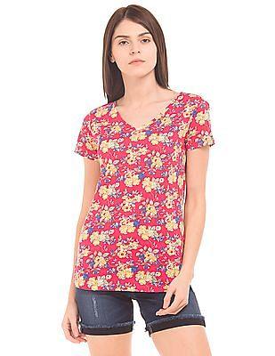 U.S. Polo Assn. Women Floral Print V-Neck T-Shirt