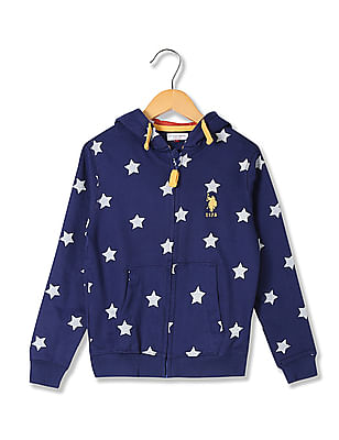 U.S. Polo Assn. Kids Boys Standard Fit Printed Hooded Sweatshirt
