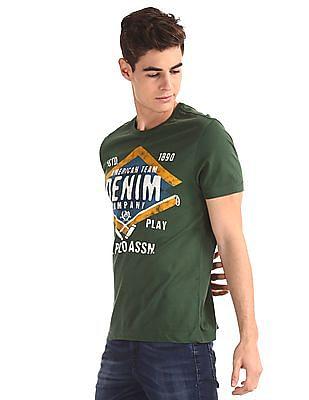 U.S. Polo Assn. Denim Co. Green Crew Neck Printed T-Shirt