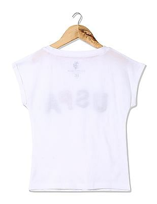 U.S. Polo Assn. Kids Girls Brand Applique Knit Top