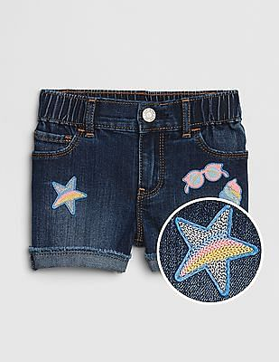 GAP Toddler Girl Embroidered Patch Shortie Shorts