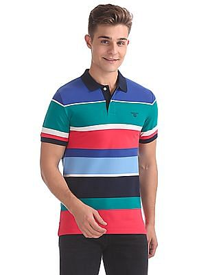 02651fb0c5d Buy Men Multi Colour Stripe Short Sleeve Rugger T-Shirt online at ...
