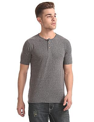Cherokee Heathered Henley T-Shirt