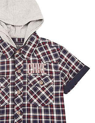 Cherokee Boys Check Hooded Shirt