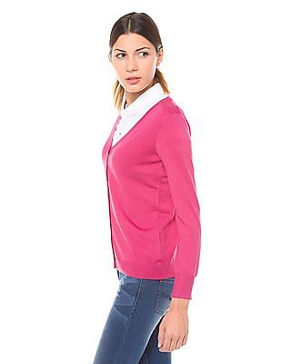U.S. Polo Assn. Women Regular Fit V-Neck Cardigan