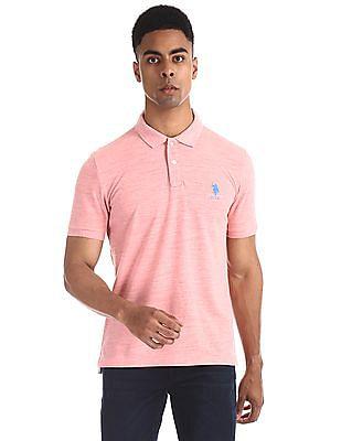 U.S. Polo Assn. Pink Slim Fit Heathered Polo Shirt