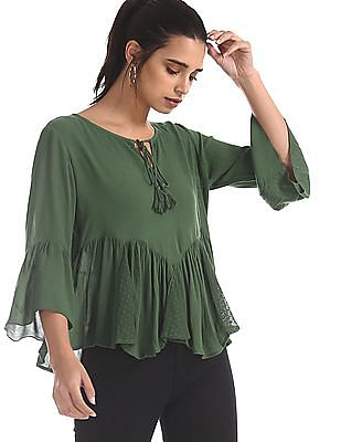 Flying Machine Women Green Lace Insert Boxy Top