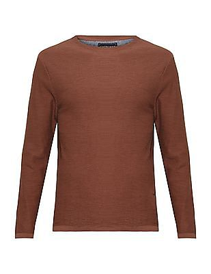 Cherokee Brown Long Sleeve Round Neck Sweater