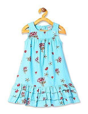 Cherokee Girls Floral Print A-Line Dress
