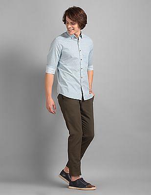 True Blue Green Slim Fit Patterned Trousers