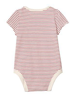 GAP Baby Red GAP Embellished Logo Stripe Bodysuit