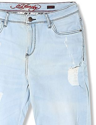 EdHardy Women Super Skinny Fit Distressed Jeans