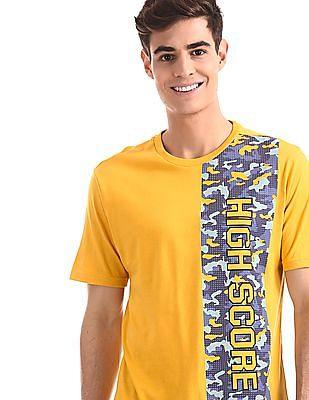 Colt Yellow Crew Neck Printed T-Shirt
