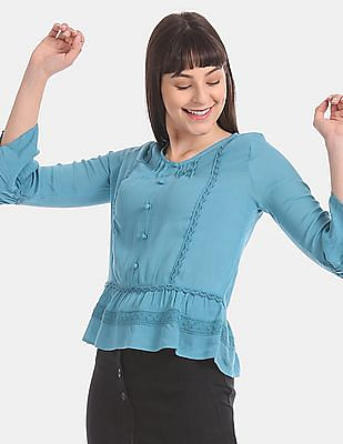 Aeropostale Blue Bell Sleeve Lace Panel Top