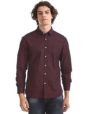 Flying Machine Blue Long Sleeve Printed Shirt