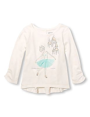 The Children's Place Toddler Girl Long Shirred Sleeve Embellished Graphic And Printed Back Panel Top