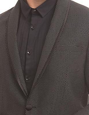 True Blue Patterned Weave Single Breasted Blazer