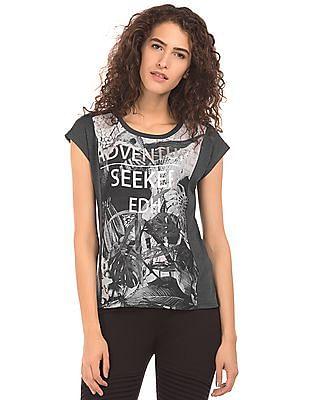 EdHardy Women Printed Panel Regular Fit T-Shirt