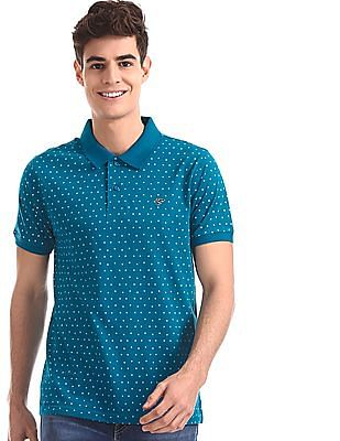 Ruggers Blue Regular Fit Floral Print Polo Shirt
